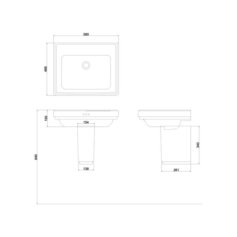 Burlington Riviera 580mm Square No Tap Hole Basin & Semi Pedestal