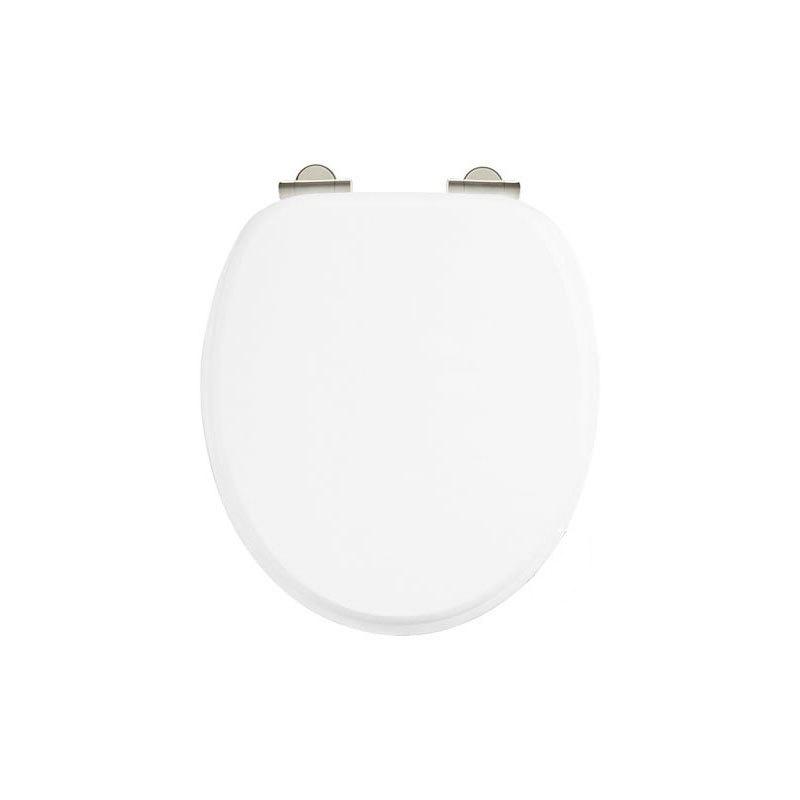 Burlington Soft Close Toilet Seat with Chrome Hinges Matt White