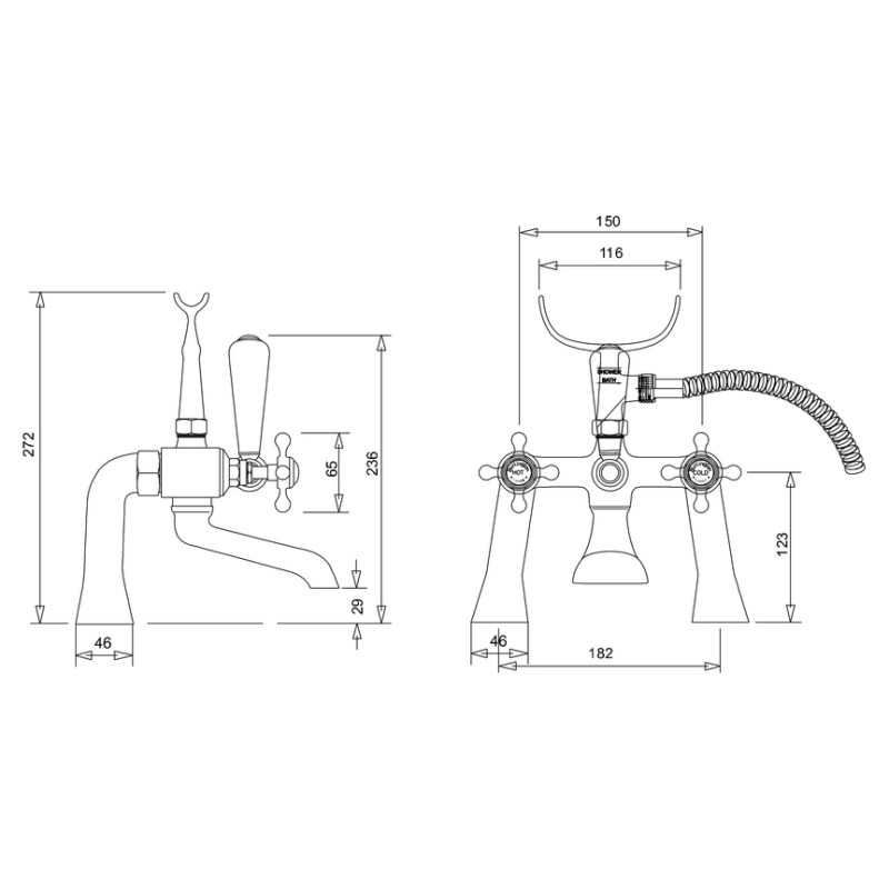 Burlington Stafford Bath Shower Mixer Deck Mounted