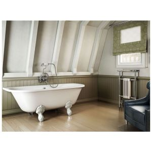 Burlington Avantgarde Back-To-Wall 1700mm Bath with White Feet