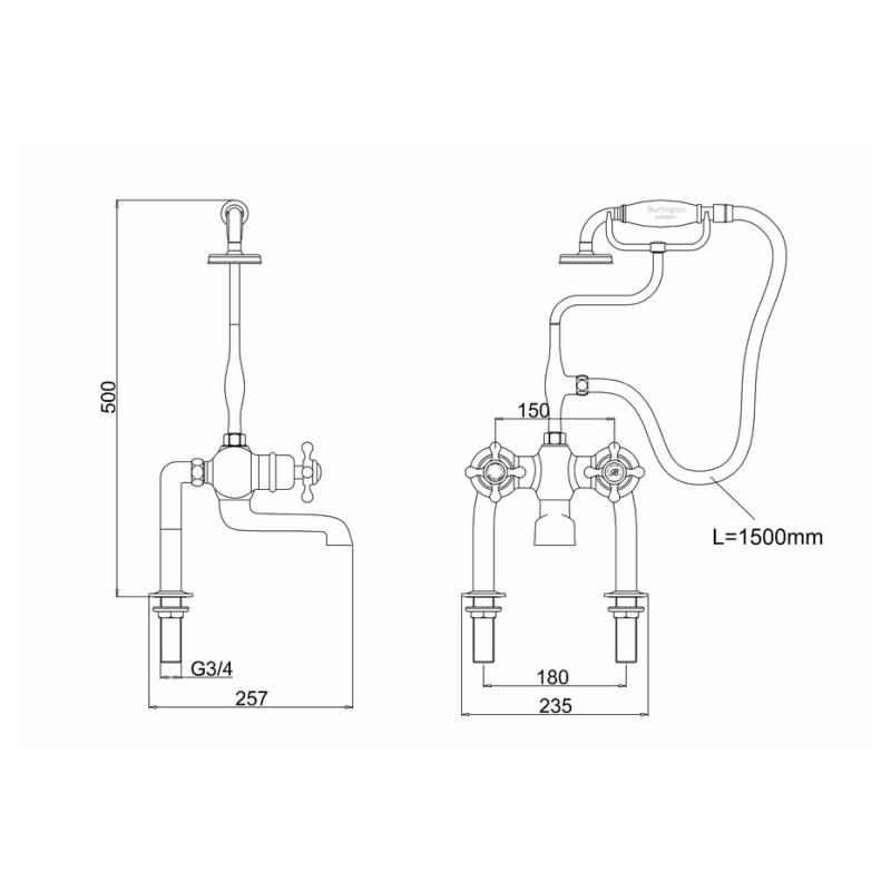Burlington Tay Thermostatic Deck Bath Shower Mixer