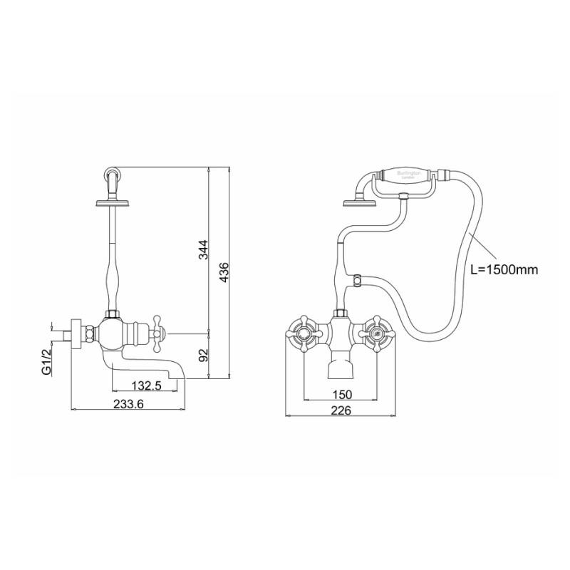Burlington Tay Thermostatic Wall Bath Shower Mixer