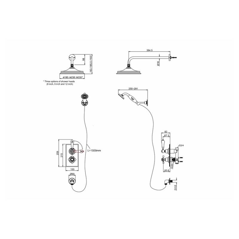 Burlington Trent Thermostatic Shower Valve with Handset & Rose