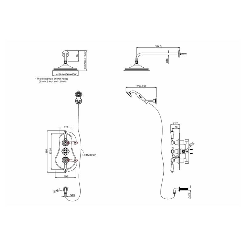 Burlington Severn Thermostatic Two Outlet Concealed Shower Set