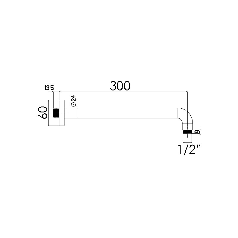 Cifial 300mm Fixed Wall Shower Arm