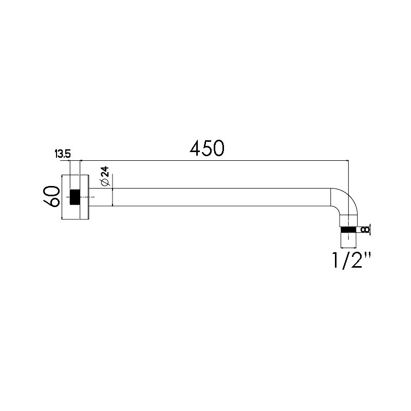 Cifial 450mm Fixed Wall Arm Chrome