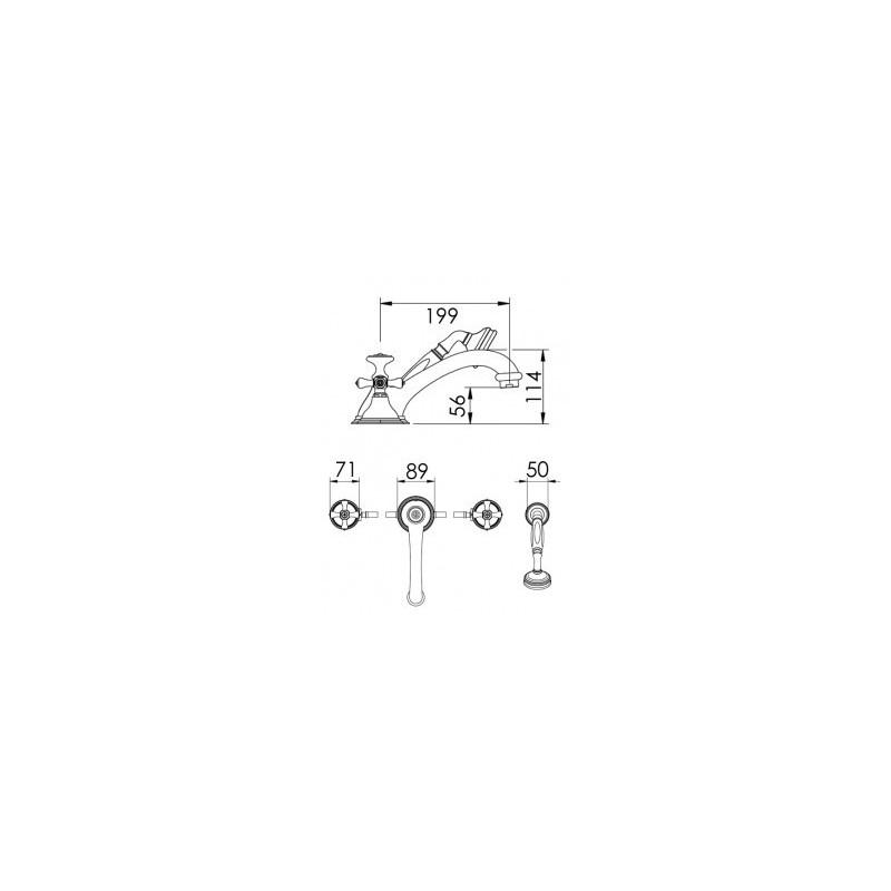 Cifial Edwardian 4 Hole Deck Bath/Shower Mixer Chrome