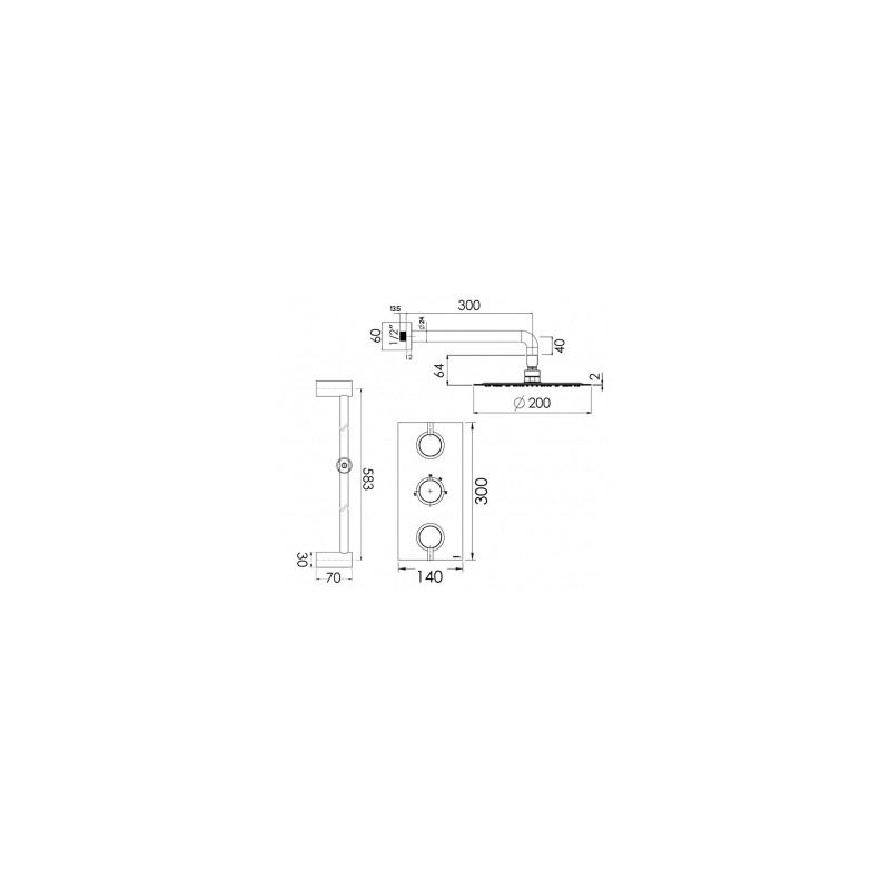 Cifial Technovation 465 Thermostatic Fixed/Flexi Shower Kit