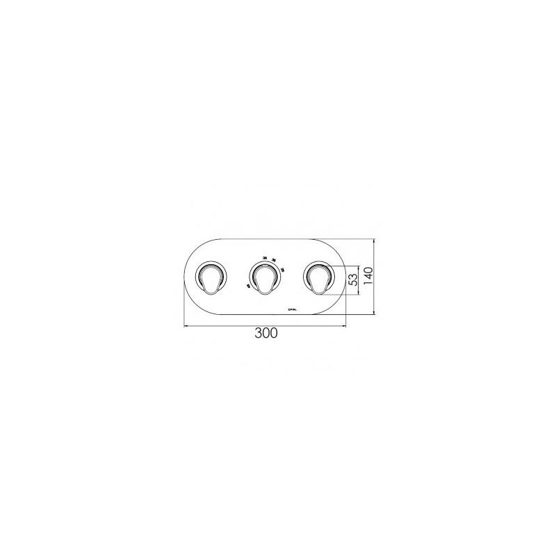 Cifial Black 3 Control Thermostatic Valve, Landscape, 2 Outlets