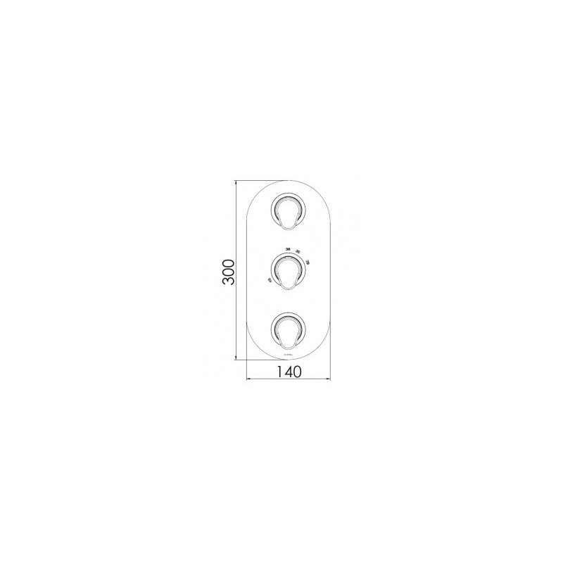 Cifial Black 3 Control Thermostatic Valve, Vertical, 3 Outlets