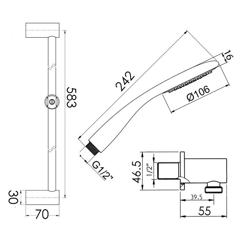 Cifial Claro Deluxe Flexi Slider Bar Kit Chrome