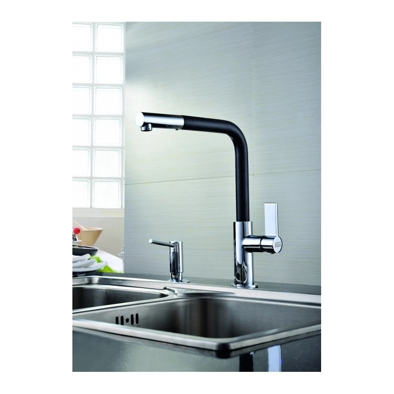 Clearwater Auriga Sink Mixer with Pull-Out Aerator Chrome/Black