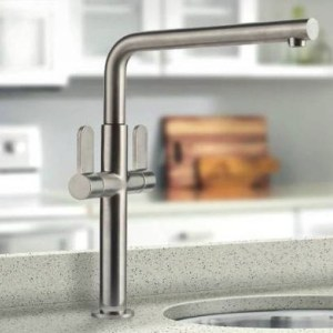 Clearwater Pulsar Twin Lever Mono Sink Mixer Brushed Nickel