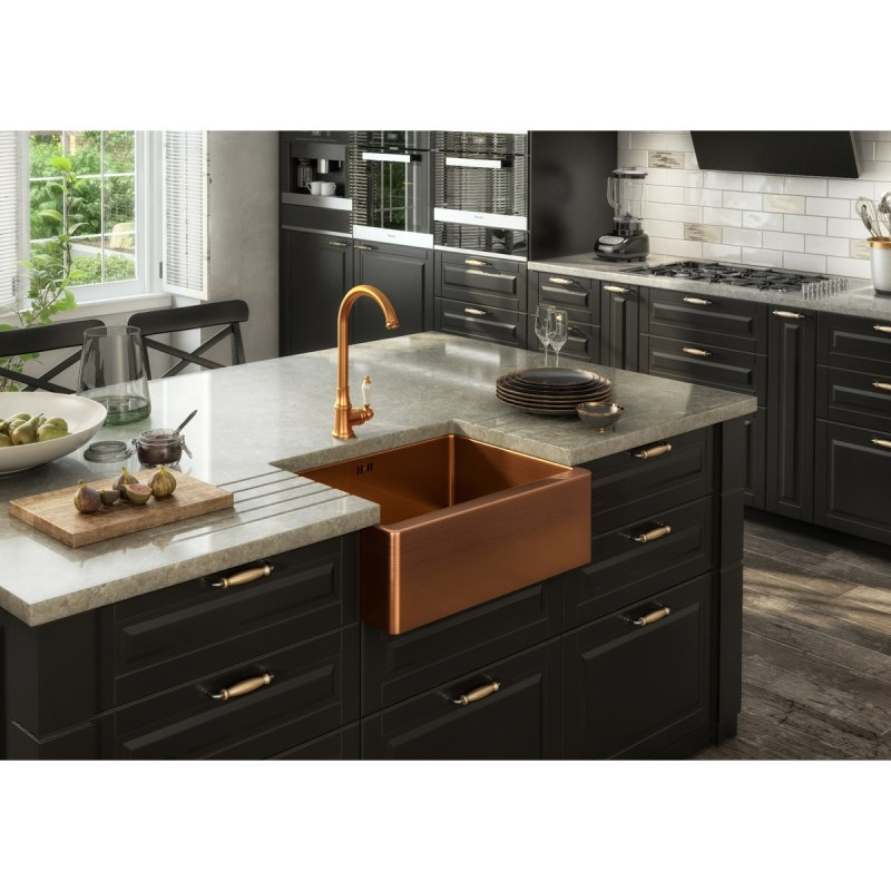 Ellsi Elect Traditional Kitchen Sink Mixer Tap Brushed Copper