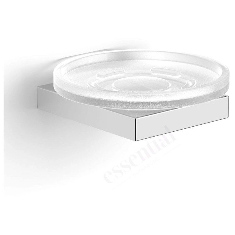 Essentials Urban Square Soap Dish Holder with Glass Dish