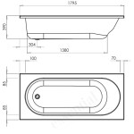 Essential Kingston Rectangular Bath 1800x800mm 0 Tap Holes White