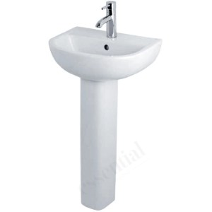 Essential Lily Pedestal Basin Only 450mm 1 Tap Hole White
