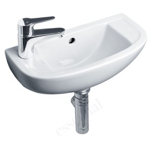 Essential Lily Handrinse Basin Only Left 450mm 1 Tap Hole White