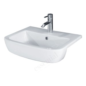 Essential Orchid Semi Recessed Basin Only 520mm 1 Tap Hole White