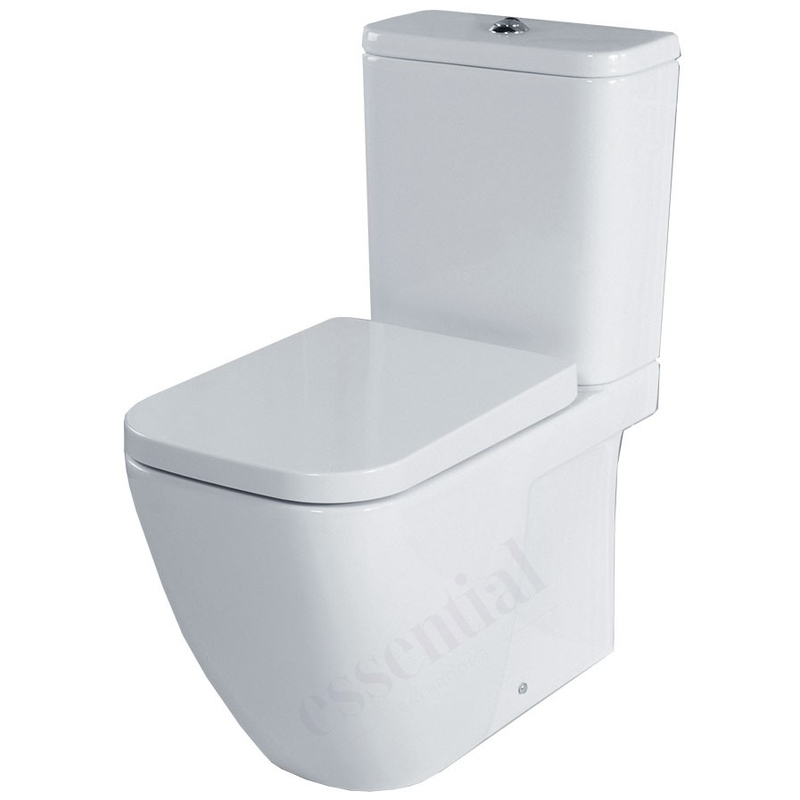 Essential Fuchsia Close Coupled Open Back Pan, Cistern & Soft Close Seat