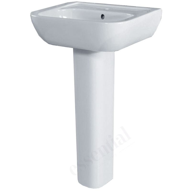 Essential Fuchsia Pedestal Basin Only 450mm 1 Tap Hole White