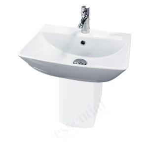 Essential Jasmine Pedestal Basin Only 500mm 1 Tap Hole White