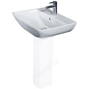 Essential Jasmine Pedestal Basin Only 600mm 1 Tap Hole White
