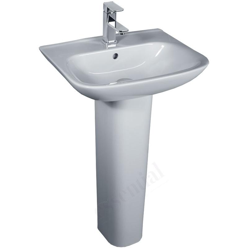Essential Violet Pedestal Basin Only 450mm 1 Tap Hole White