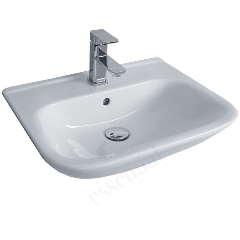 Essential Violet Semi Recessed Basin Only 520mm 1 Tap Hole White
