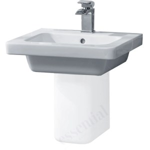 Essential Ivy Pedestal Basin Only 500mm 1 Tap Hole White