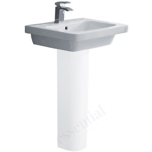 Essential Ivy Pedestal Basin Only 550mm 1 Tap Hole White
