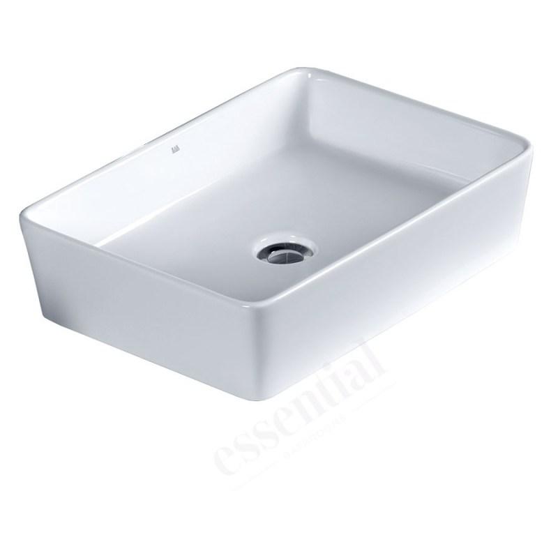 Essential Lavender Square Vessel Basin 550mm 0 Tap Hole White