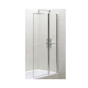 Essential Spring Square Bath Screen with Fixed Panel