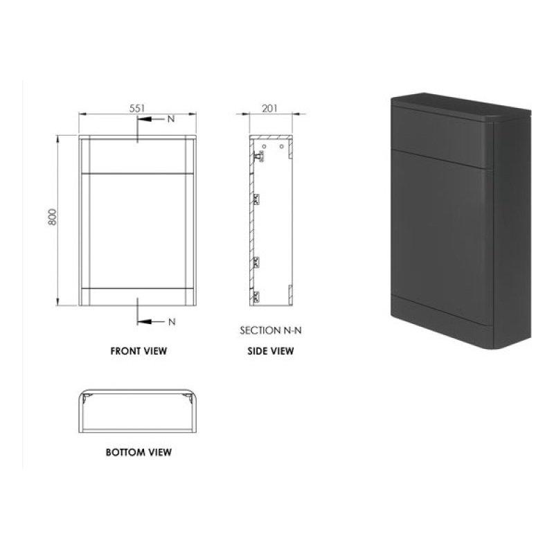 Essential Colorado 550mm WC Unit Graphite Grey