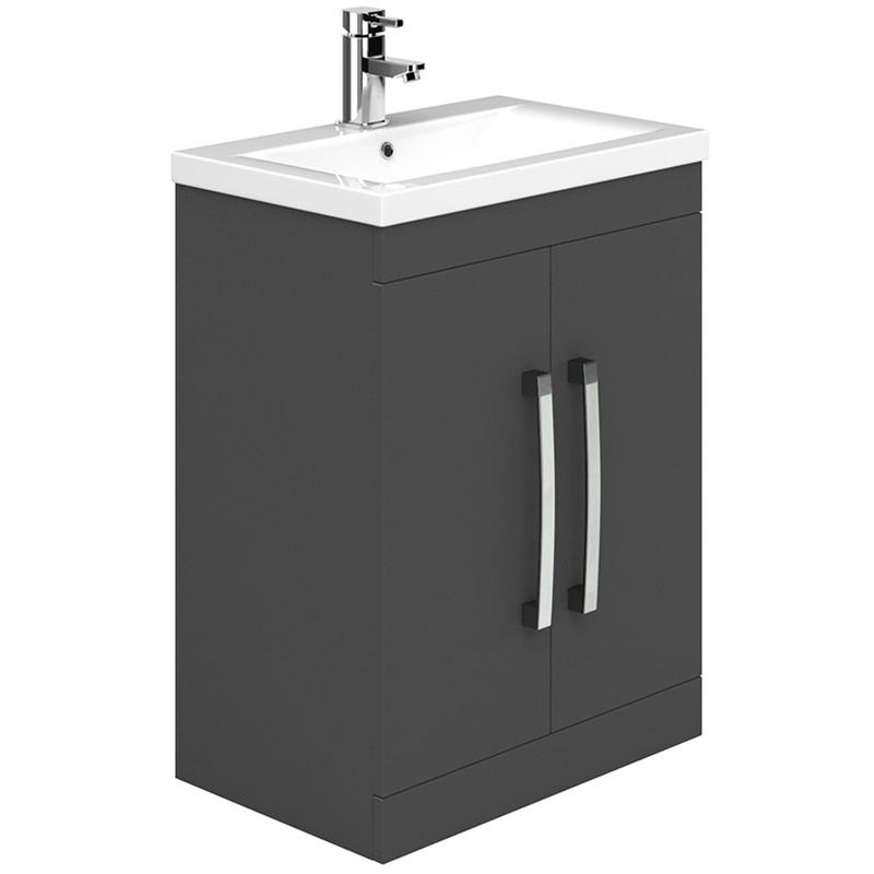 Essential Nevada 600mm 2 Door Floor Basin Unit & Basin Grey