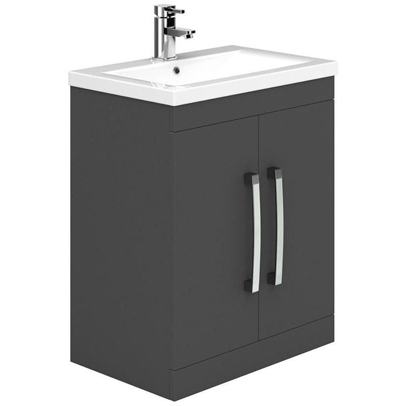 Essential Nevada 800mm 2 Door Floor Basin Unit & Basin Grey