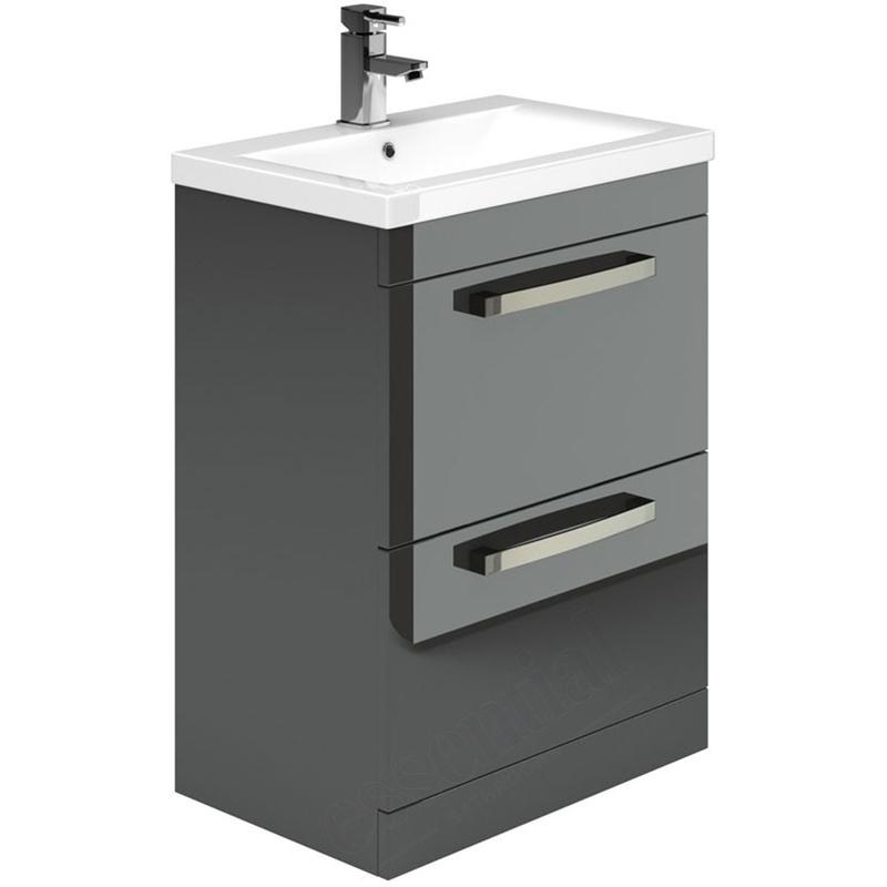Essential Nevada Washbasin Unit & Basin 2 Drawers 600mm Grey