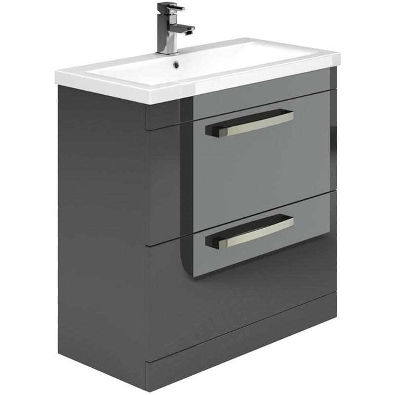 Essential Nevada Washbasin Unit & Basin 2 Drawers 800mm Grey