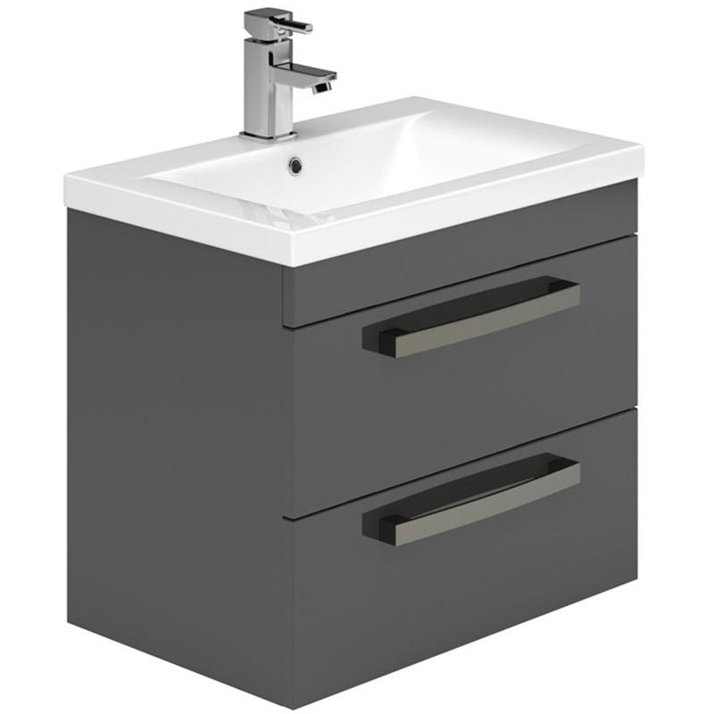 Essential Nevada 600mm 2 Drawer Wall Basin Unit & Basin Grey