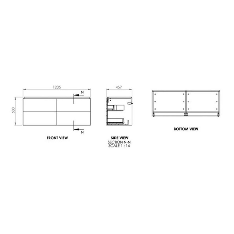 Essential Dakota 1200mm Wall Hung Unit & Basin Onyx Grey