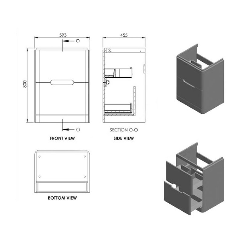 Essential Colorado 600mm Floor Unit & Basin Matt White