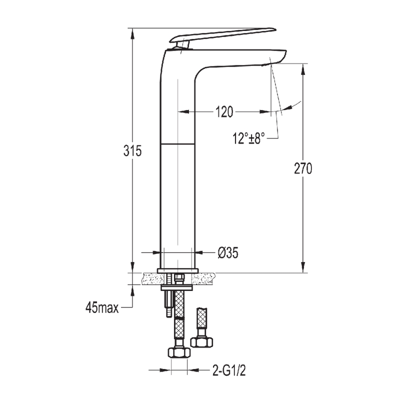 Flova Allore Tall Single Lever Basin Mixer with Clicker Waste