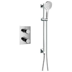 Flova Annecy Thermostatic 1 Outlet Shower Valve with Slide Rail Kit