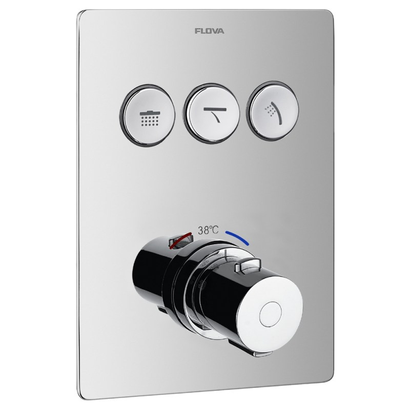 Flova Annecy Concealed Thermostatic GoClick 3 Outlet Trim Square