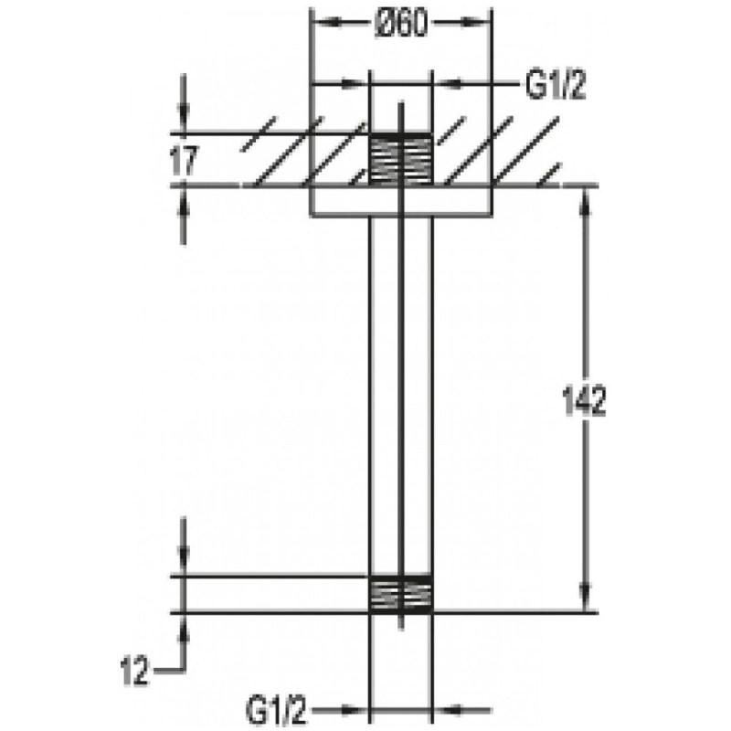 Flova 120mm Ceiling Shower Arm Brushed Brass