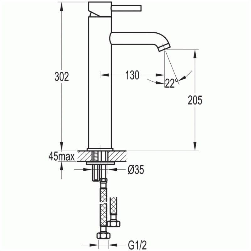 Flova Levo Tall Basin Mixer Tap Brushed Brass