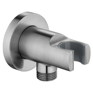 Flova Wall Outlet Elbow with Handset Holder Brushed Nickel