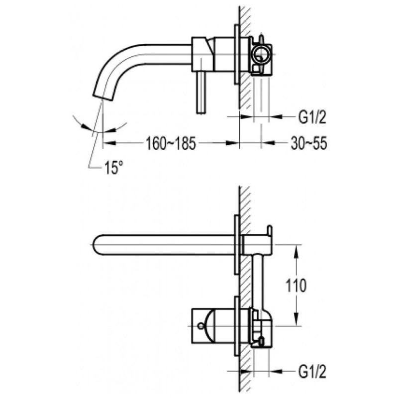 Flova Levo 2 Hole Wall Basin/Bath Mixer Brushed Nickel