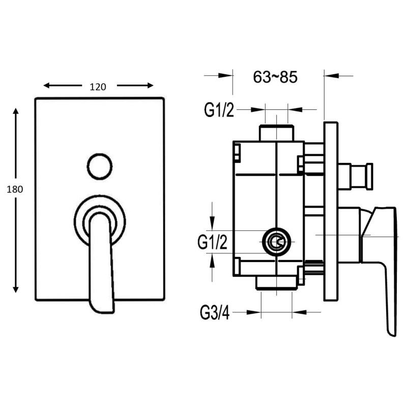 Flova Cascade Concealed 2 Outlet Manual Mixer