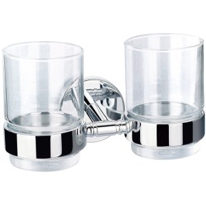 Flova Coco Double Glass Tumblers & Brass Holders